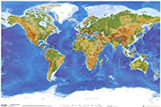 laminated satellite physical map of the world