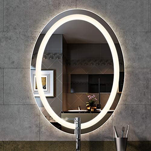 Oval Illuminated Bathroom Mirror with LED Light and Demister Pad Touch Sensor -