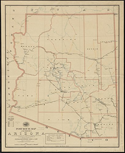 Historic Map | 1897 Post route map of the territory of Arizona showing post offices with the intermediate distances on mail routes in operation on the 1st. of December, 1897 | Vintage Reproduction by historic pictoric (Image #1)