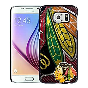 Unique and Nice Galaxy S6 Case Design with Chicago Blackhawks Black Case for Samsung Galaxy S6