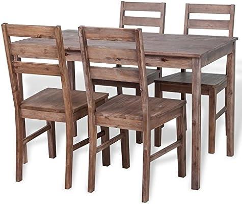 vidaXL Conjunto de Muebles de Comedor 5 Pzas Madera Maciza Acacia ...