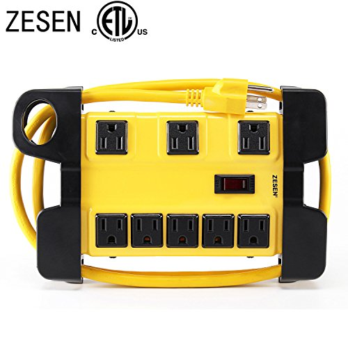 ZESEN 8 Outlet Heavy Duty Metal Workshop Surge Protector Power Strip with Cord Management, 4-Foot Cord, ETL - Plug Storage