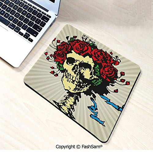 Desk Mat Mouse Pad Tattoo Art Style Graphic Skull in Red Flowers Crown Halloween Composition Print Decorative for Office(W7.8xL9.45) ()