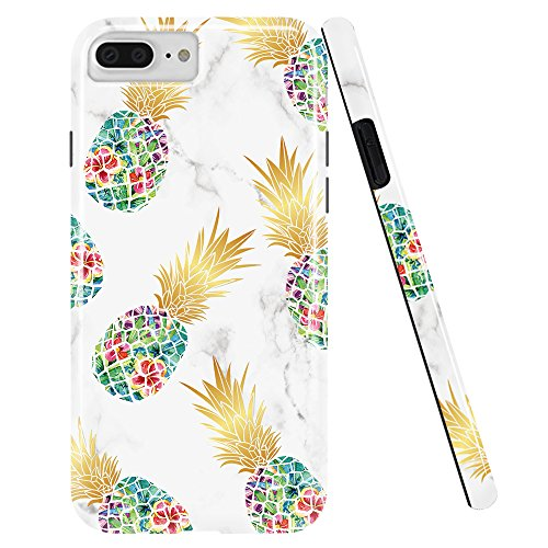 DOUJIAZ Compatible with iPhone 7 Plus Case,iPhone 8 Plus Case,Shiny Marble Design Clear Bumper TPU Soft Case Rubber Silicone Skin Cover for iPhone 7 Plus/iPhone 8 Plus-Green Pineapple & White