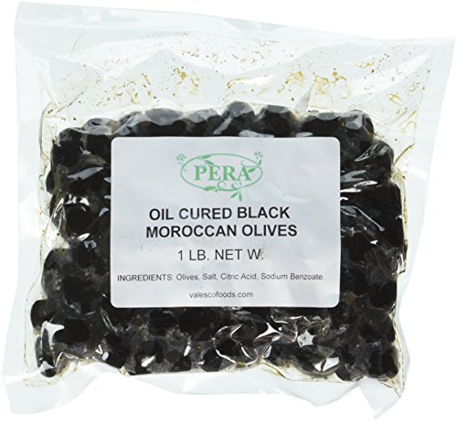 PERA Oil Cured Moroccan Black Olives in Pouch, 1 (Oil Cured Black Olives)