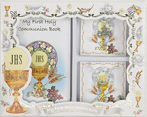My First Holy Communion Girls Gift Set with Prayer Book, Rosary, and Cross Pendant