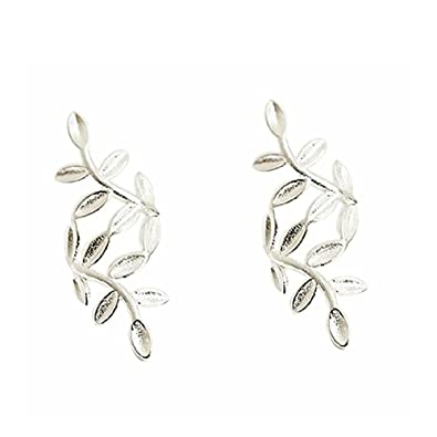 e1ee7a34d51 S925 Sterling Silver Leaf Non Piercing Ear Clip Cuff Wrap Earrings (925  sterling silver)