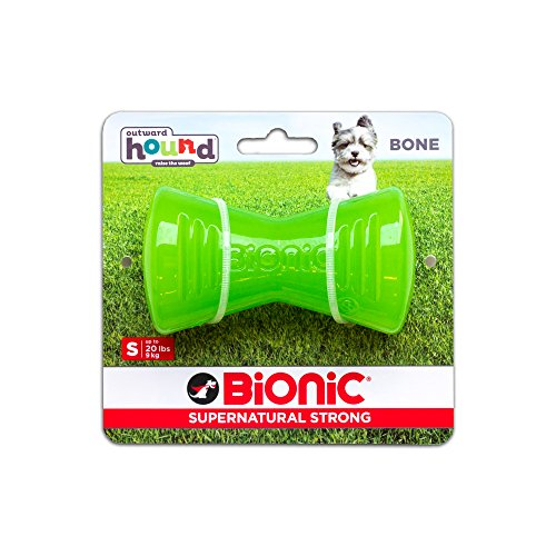 Tough Rubber Dog Bone, Durable Chew Toy for Small...