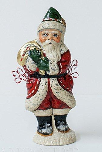 Vaillancourt Folk Art Candy Cane Santa with Bag Chalkware Figurine Made in USA