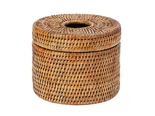 KOUBOO 1030072 La Jolla Handwoven Rattan Toilet Paper Roll Cover & Tissue Dispenser, 6.25