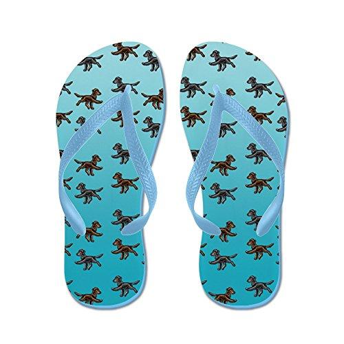 Modello Di Cane Da Riporto Rivestito Piatto - Infradito, Sandali Infradito Divertenti, Sandali Da Spiaggia Blu Caraibico