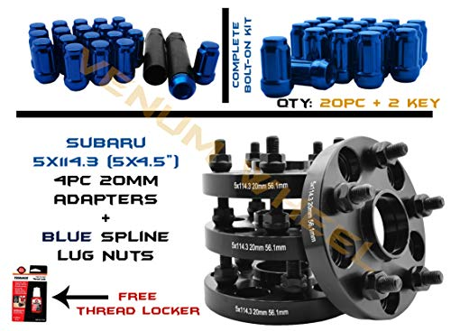 Full Set Of 20mm Thick Black Hub Centric Wheel Spacer Adapters 5x114.3 MM (5x4.5