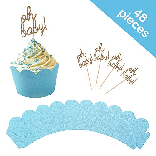 - Baby Shower Cupcake Toppers and Wrapper 48 Piece Set- Oh Baby Cupcake Toppers and Blue Cupcake Wrappers for Boy Baby Shower