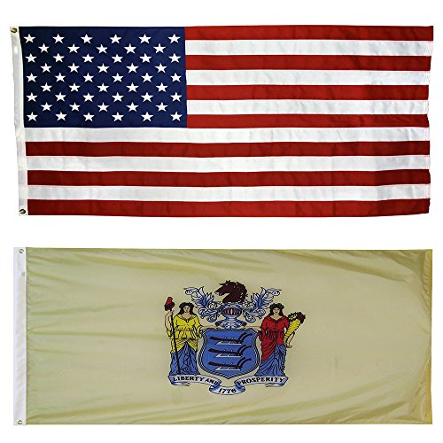 US Flag with New Jersey State Flag 3 x 5 - 100% American Mad
