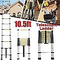 10.5ft Telescoping Ladder Aluminum Telescopic Extension Multi Purpose Anti Slip Steps 330lb Max Capacity