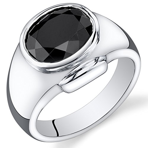 Mens 6.50 Carats Black Onyx Ring Sterling Silver Size 9