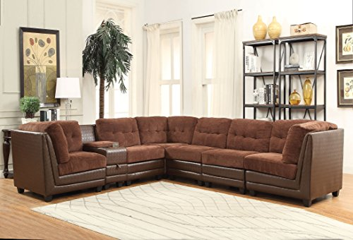 1PerfectChoice Vlord Brown Chenille PU Reversible Sectional Sofa