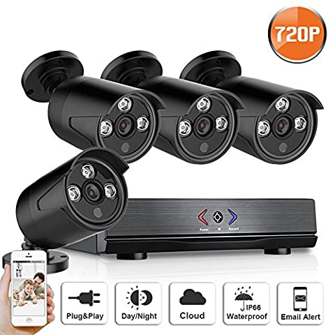 SW SWINWAY 4CH 1080N AHD DVR Security Camera System Home Surveillance With 720P Outdoor Wide Angle Night Vision Bullet Camera