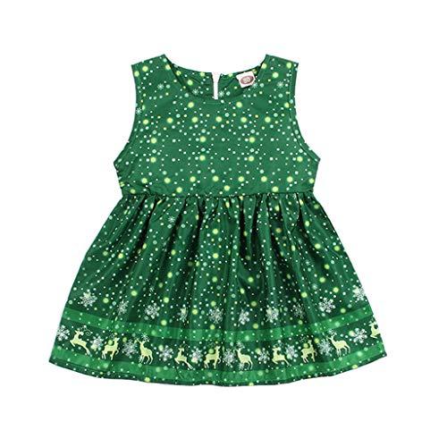 UMFun Summer Kids Baby Girls Snowflake Fawn Pleated Dress Sleeveless Party Dress -