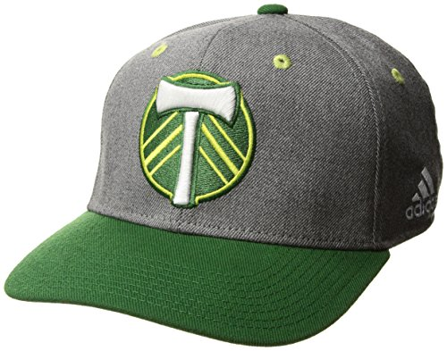 adidas MLS Portland Timbers Adult Men 2-Tone Structured Adjustable, One Size, Gray