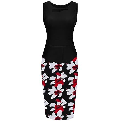 Arenbel Women's Floral Patchwork Peplum Chic Bodycon Formal Office Work Dress
