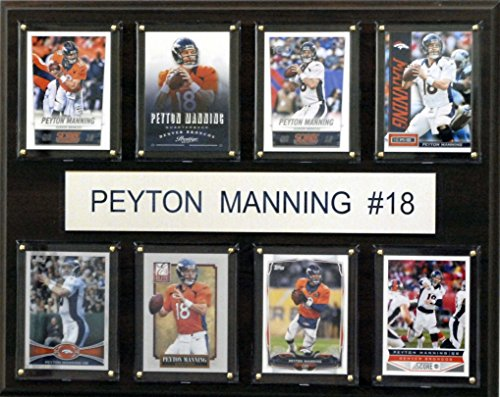 C&I Collectables NFL Denver Broncos Peyton Manning 8-Card Plaque, 12 x 15-Inch (Nfl Football Peyton Manning)