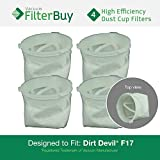 4- Dirt Devil F-17 (F17) Dust Cup Replacement Filters, Part # 3DN0980000 (3-DN0980-000). Designed by FilterBuy to fit Dirt Devil KONE and Dirt Devil KURV Hand Held Vacuum Cleaners