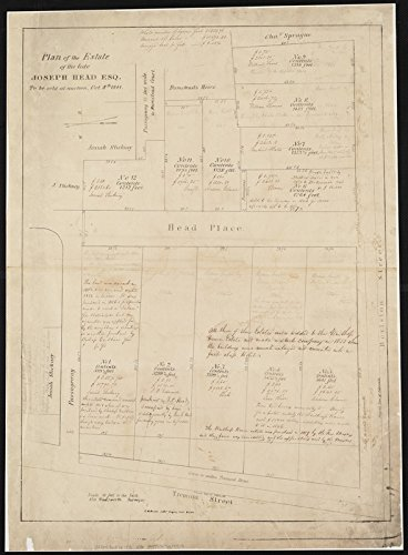 Estate Vintage Antique - Historic Map | Plan of the estate of the late Joseph Head Esq. to be sold at auction, Oct. 8th 1841 | Antique Vintage Reproduction
