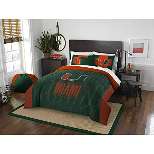 3 Piece NCAA University of Miami Hurricanes Comforter Full/Queen Set, Sports Patterned Bedding, Featuring Team Logo, Fan Merchandise, Team Spirit, College Football Themed, Green Orange