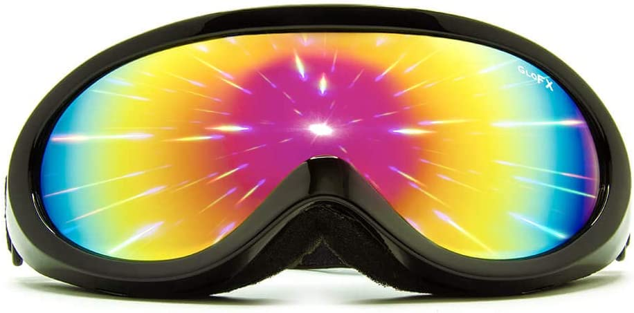 GloFX Black Diffraction Ski Goggles – Rainbow Gradient Rave Prism Kaleidoscope Lightshow Lenses