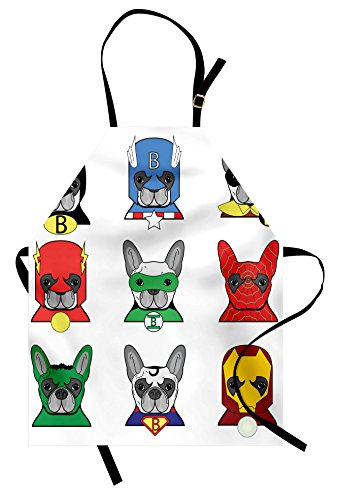 Ambesonne Superhero Apron, Bulldog Superheroes Fun Cartoon Puppies in Disguise Costume Dogs with Masks Print, Unisex Kitchen Bib with Adjustable Neck for Cooking Gardening, Adult Size, White Green -