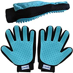 Zenify Pet Grooming Glove [2 Pack - Left & Right Handed] - for Dog, Puppy, Cat, Kitten, Rabbit, Horse - Dual Sided 2-in-1 Upgrade Version Hair Remover Deshedding