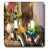 3dRose LLC lsp_52086_2 Hispanic Boy and Girl Ceramic Hanging On A Mirror with Hot Chilis and Leaves At Mexican Restaurant Double Toggle Switch