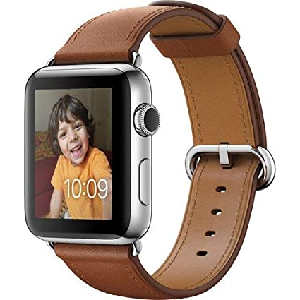 883bfa454 Image Unavailable. Image not available for. Color: Apple Watch SERIES 2  Stainless steel 42mm (Stainless Steel Case with Saddle Brown Classic Buckle