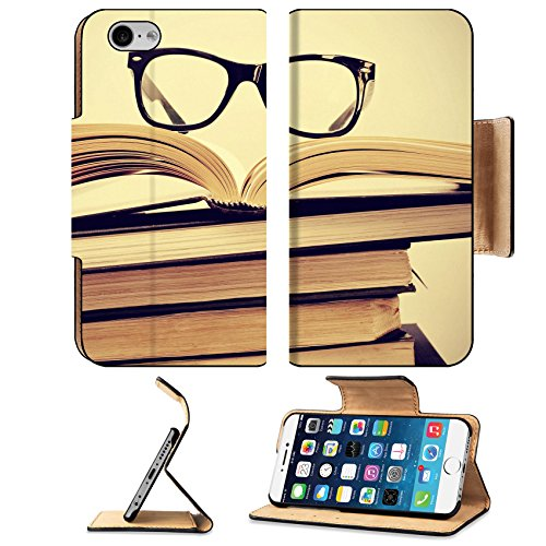 Luxlady Premium Apple iPhone 6 iPhone 6S Flip Pu Leather Wallet Case IMAGE ID: 24557067 picture of a pile of books and eyeglasses with a retro - Eyeglasses Exam
