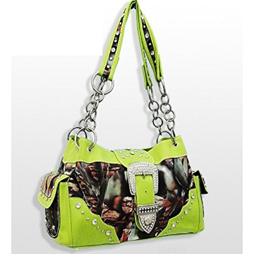 LIME GREEN CAMO CAMOUFLAGE HANDBAG WESTERN BUCKLE PURSE (Purse Camo Green Lime)
