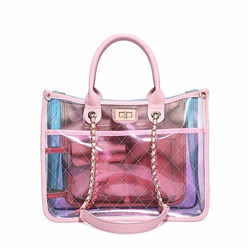 Nuevo bolso de la jalea, PVC transparente Paquete bolso de bandolera de cadena,Pink Rosa
