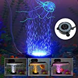 KAPATA LED Aquarium Air Bubble Light, Fish Tank Air Curtain Bubble Stone Disk with 6 Color Changing LEDs(6 LEDs)