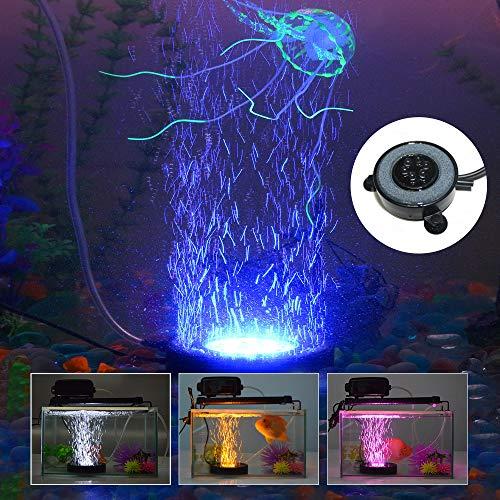 KAPATA Aquarium Bubbler with Light, LED Fish Tank Bubbler Aquarium Air Bubble Light, Fish Tank Air Curtain Bubble Stone…