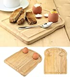 Apollo Rubberwood Breakfast Bread Toast Serving Tray with Egg & Cheese Holder Board
