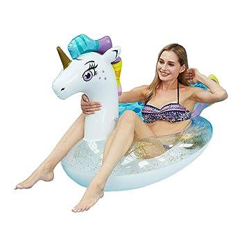 WYJHNL Flotador Unicornio Anillo de Natación con Brillos ...