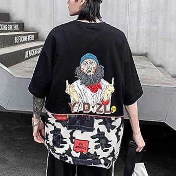 تي شيرتات - تي شيرت هيب هوب صيفي رجالي فضفاض بلايز كاجوال Harajuku Japanese تي شيرت ملابس الشوارع كول هاي ستريت أسود تي شيرت للأولاد (2 XL)