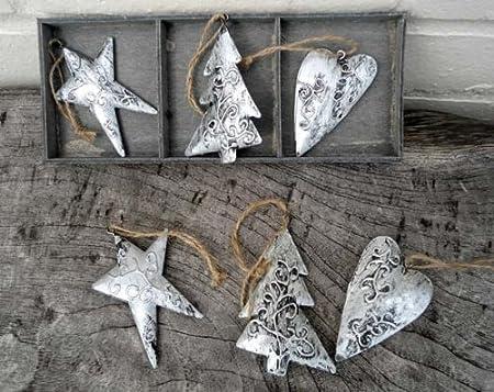 Metallic Christmas Tree Decorations.Silver Christmas Tree Decorations Heart Tree Star Metal