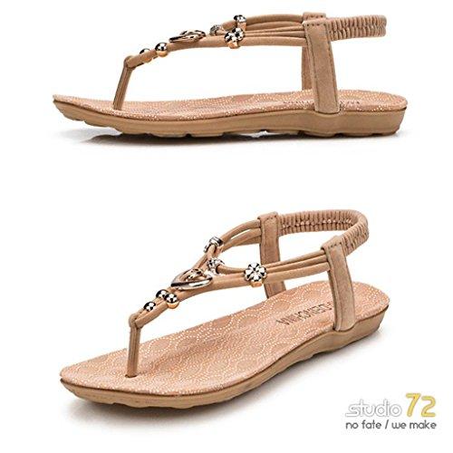 Confortable Fille Post d'été Boho Sandale Plage de Mode Orteil Plate Chaussures Beige Femme BqFHwaz4