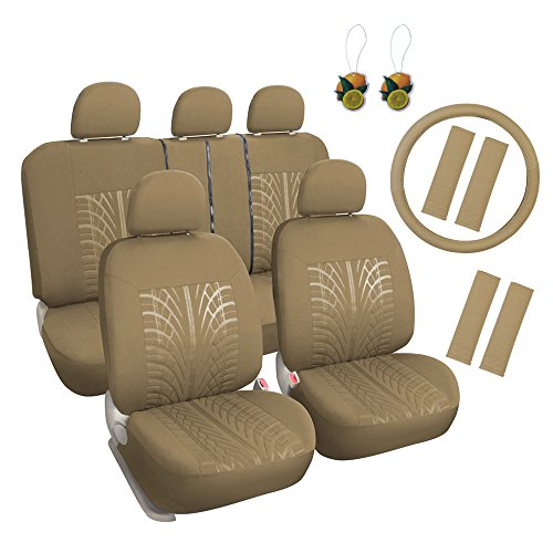 (Leader Accessories Auto Universal Tan Car Seat Covers Set 17pcs Combo Pack with Airbag - Front and Rear with 4 Shoulder Pads)