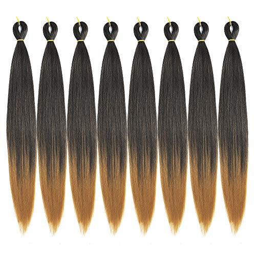 (Ombre Pre-Stretched Braiding Hair 8 Pcs/Lot 24 inch Crochet Braiding hair Free Perm Yaki Straight Low Temperature Synthetic Fiber Braiding Hair (24