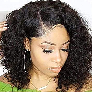 Amazon Com Short Curly Full Lace Wigs 150 Density Human Hair Wigs Pre Plucked With Baby Hair Brazilian Virgin Hair Full Lace Bob Wig 10 Inch Beauty