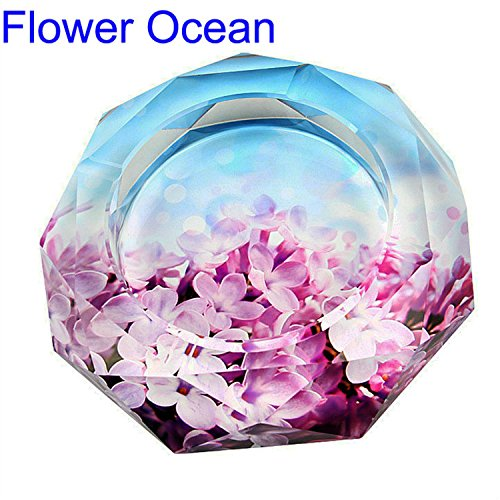 CSKB 5 inch Flower Ocean Crystal Cigarette Ashtray,Ash - Desktop Cigarette Holder