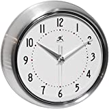 Infinity Instruments Retro Silver 9.5 Inch Wall Clock For Sale