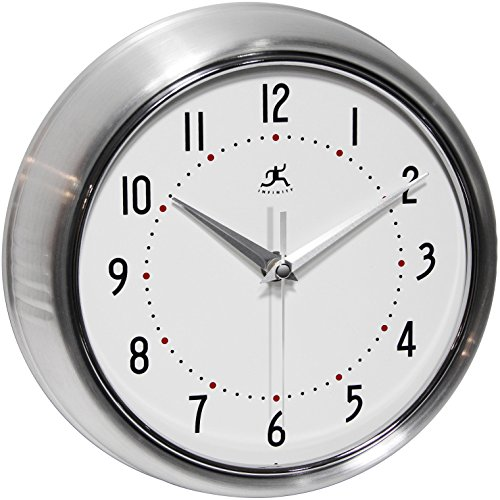 Timing Infinity Cover - Infinity Instruments Retro Silver 9.5 Inch Wall Clock